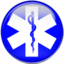 blue star of life symbol button